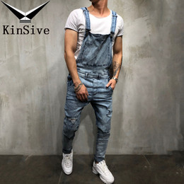 adb46458a96 Fashion Clothes Men s Ripped Jeans Jumpsuits Streetwear Male Distressed Denim  Bib Overalls Trouser For Man Hole Suspender Pants