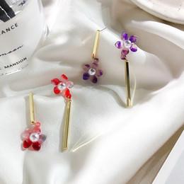 Orecchini rossi d'argento korea online-AOMU S925 Sterling Silver Pin Corea Dolce asimmetria rosso ciliegia piccolo fiore orecchini per le donne Wedding Party Beach Jewelry