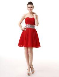 4be630c9597f5 2018 Mezuniyet Elbiseleri A-line Sevgiliye Kısa Mini Kırmızı Pleats Boncuklu  Şifon Kokteyl Elbiseleri Gerçek