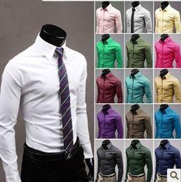 einzelfarbenhemden Rabatt Herren Slim Fit Baumwollmischung Pflegeleichtes Business-Hemd Lässig Feste Langarm-Hemdblusen 17 Farbe Größe (M-3XL) 6492