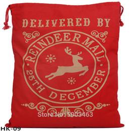 bolsa de arpillera al por mayor Rebajas Venta al por mayor de Santa Sacks 20pcs / lot de la Navidad Bolsa grande Bolsa con cordón de Santa saco de arpillera regalo personalizada