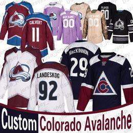 2019 camisa de futebol feminino Colorado Avalanche Nathan MacKinnon Jersey Gabriel Landeskog Nikita Zadorov Matt Calvert Philipp Grubauer Personalizado Mulheres Youth Hockey Jerseys camisa de futebol feminino barato