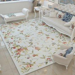 Alfombras rojas para sala de estar online-Alfombras de flores nórdicas para sala de estar Alfombras grandes rojas suaves para dormitorio Alfombras de alfombra con alfombras florales de color rosa Mesa de centro Son alfombras