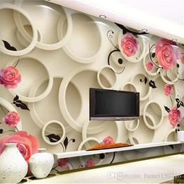 Grandes murais de parede florais on-line-3D foto 3D Wallpaper Rose círculo fantasia floral sofá da sala quarto cenário 3D grande mural wallpaper pintura moderna