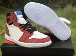 Hohe Qualität 1 OG Chicago Kristall Spider-Man 3 Mt reflektieren Basketball-Schuhe Männer Frauen 1 s Gym Rot Blau Weiß Sport Turnschuhe mit Box von Fabrikanten