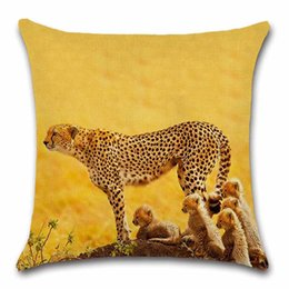 Африканские стулья онлайн-African savannah animals Cheetah cushion cover Decor car Chair seat sofa Decorative Home kids friend living room gift Pillowcase