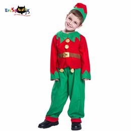 Trajes de santa claus para niños online-Disfraz Eraspooky Disfraz de niño para niños Santa Claus Cosplay Niños Navidad Elf Ropa Uniforme Sombrero Traje Niño Año Nuevo 2018