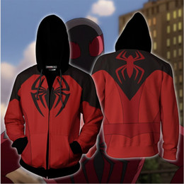 cosplay hoodies zipped Promo Codes - BIANYILONG Autumn Winter 3D Print Scarlet Spider II Cosplay PS4 New Look Zip Up Hoodie Jacket clothing