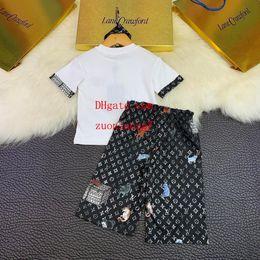 2019 pantaloni lunghi sciolti per le ragazze 2019 primavera tute ragazza ragazzo Lettera stampa t-shirt cravatta pantaloni larghi gamba larga pantaloni lunghi vestito a due pezzi abbigliamento per bambini imposta o-c2 sconti pantaloni lunghi sciolti per le ragazze