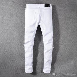 leggings jeunesse Promotion 2019SS New Fashion AMIRI High Street jeans blanc stretch jeunesse mince leggings mince pli pantalon patch endommagé shippin Livraison gratuite 12