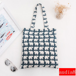 plain white eco bag Promo Codes - Wholesale- YILE Cotton Canvas Shopping Tote Shoulder Carrying Bag Eco Reusable Bag Print White Bear L068 NEW