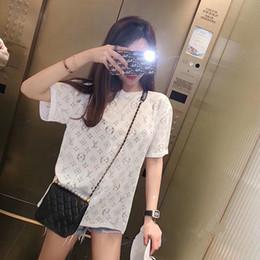 camicia di tee trasparente Sconti Designer Donna Letter Shirt 2019 Summer Fashion Girocollo Trasparente Manica corta T-shirt oversize Sexy Camicetta Top Streetwear