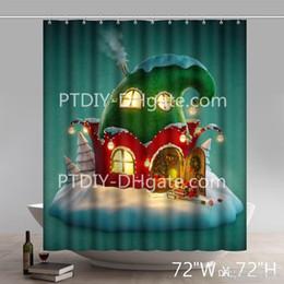 Canada Professionnel DIY Unique Drôle Impression Cadeau De Noël De Noël Fée Maison Arbre Père Noël Et Renne Étanche Cuisine Rideau De Douche cheap christmas kitchen curtains Offre