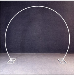 Palloncini a forma rotonda online-Oro bianco U / cuore / rotondo partito forma ad anello, Metallo, Ferro Arco di cerimonia nuziale supporto fondale Decor artificiale palloncino Fiore stand scaffale