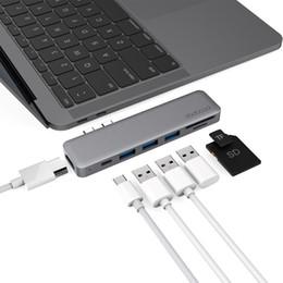 2019 accesorios de aluminio de china dodocool 7-en-1 USB-C HUB USB C con 4K Video HD Lector de tarjetas SD / TF 3 HUB USB 3.0 Thunderbolt Type-C para MacBook Pro