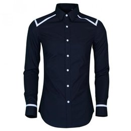 piping design shirts Rabatt Mew Ankunft Slim Fit Männer Hemd Hight Qualität Schulter und Hülse Piping Design Herren Dress Shirt Trend Langarm Mann Shirts 4XL