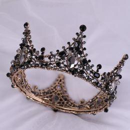 2019 tiaras negras para boda Fiesta Nocturna negra Tiara Cristales Claros Reina Austriaca Corona de Novia Coronas de Novia Traje Art Deco Princesa Tiaras Broche tiaras negras para boda baratos