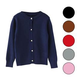 Niñas cardigans de primavera online-2019 Spring Girls Cardigan Sweaters Uniforme escolar para niños Suéter de punto Ropa de manga larga para niñas pequeñas