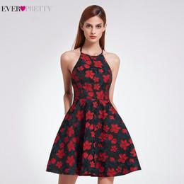 2018 nuevos vestidos de regreso al hogar con cuello halter sexy siempre bonitos EP05945 corto una línea de fiesta con estampado floral retro para mujer desde fabricantes