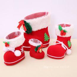ornamento livre da sapata Desconto Frete Grátis Decorações de Natal Enfeites Pequenas Crianças Brinquedo Botas Doces Velho Sapato Caixa de Presente Sacos de Suprimentos Home Decor Sapatos de Natal