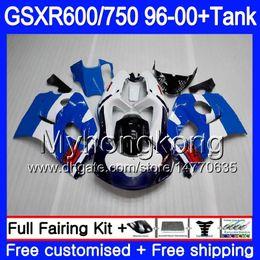 2019 zx14 carenados rojos Cuerpo + tanque para SUZUKI SRAD GSXR 750600 GSXR600 96 97 98 99 00 291HM.21 GSXR-600 Stock azul caliente GSXR750 1996 1997 1998 1999 2000 Carenados