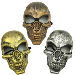meia máscara Desconto Crânio do exército CS Máscara Máscara assustador Fantasma Horror cabeça Masquerade Máscaras Máscara Adulto completa Halloween Rosto