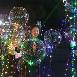 2019 zentai transparente Bola de luz LED Bobo Balloon Flashing Wave Night Lights 3M String 20