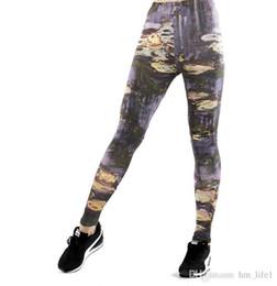 Canada Femmes Pantalons De Yoga Pantalons Impression Numérique Peinture Abstraite Impression Collants Dame Taille Haute Danse Activité De Jambières Collants Offre