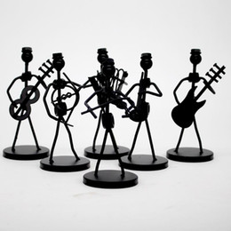 fête d'artisanat d'art Promotion 1pc Mini fer Music Band modèle miniature Figurines Musiciens Artisanat Arts Décorations Party Favor cadeau Design aléatoire