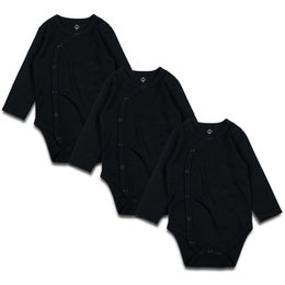 18 trajes de bebe 24 meses online-Body para bebé recién nacido negro 3 piezas 100% algodón Lugar de manga larga Unisex Traje de cuerpo sólido para recién nacidos Baby Boy Girl 0-24 meses Y19061201