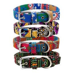 Collares de lona para perros online-Coloridos collares de perro Lienzo Doble cara Premium Collar Mascota Suministros para perros 9 diseños Correas ajustables Estilo bohemio Patrón cruzado Productos para mascotas