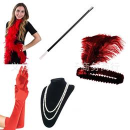 Kopfstangen online-Bachelor Party Kostüm Zubehör Große Gatsby Party Feder Tabak Pole Kopf Halskette Handschuh Anzug Dance Performance Requisiten 16l ...