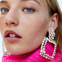 brincos pendentes para mulheres Desconto Mulheres Big Vintage Hipérbole De Cristal Quadrado Grandes Oscila Brincos De Metal Gota Brilhante Presente Dos Namorados Jóia Do Casamento Bohemian Earring