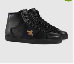 haut cuir Promotion Stripe Ace - Haut brodé - Baskets pour hommes - Chaussures de designer pour femmes à rayures rouges et vertes - Chaussure en cuir à imprimé abeille blanc / noir Zx05