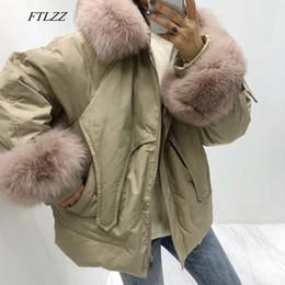 FTLZZ Winter warme weiße Ente unten Parkas Frauen mit Kapuze Großer wirklichen Pelz Kragen Feminino Mantel beiläufigen losen Armee Grün Outwear
