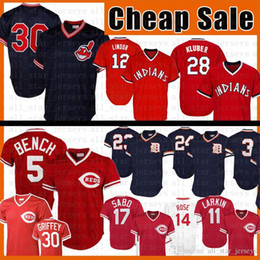 2020 johnny banco 30 Johnny Bench Baseball Jersey Barry Larkin Sabo Ken Griffey Jr Francisco Lindor Kluber Joe Carter Kirk Gibson Miguel Cabrera Alan Trammell johnny banco barato
