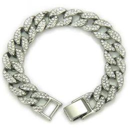 platin überzogene armband smaragde Rabatt Mode Herren Luxus Armbänder Armreifen Hochwertige Gold Silber Iced Armband Out Armband Cuban Link Hip Hop Armbänder