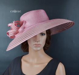 2019 chapéus de vestido formal para mulheres 2019 X Grande Blush rosa Mulheres chapéu de vestido formal PP palha chapéu de sol chapéu de verão para prom mother'day raças kentucky derby