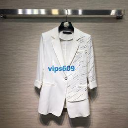 Vestiti coreani di lavoro per le donne online-Cappotto da donna Cappotto da donna Suit Cappotto da donna Casual da lettera stampato top Abbigliamento da lavoro Casual coreano Abito da donna bianco SML