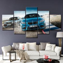 2020 pinturas autos deportivos Lienzo impreso cartel Decoración 5 Piezas HD M3 pinturas de coche deportivo azul arte de la pared Imágenes de Vida sala modular enmarcados pinturas autos deportivos baratos