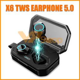 fundas universales para teléfonos inteligentes Rebajas X6 TWS Auriculares inalámbricos Bluetooth con estuche de carga Auricular estéreo verdadero Auricular impermeable para teléfono inteligente Ejecución de auriculares deportivos para iPhone