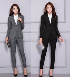 Escritório mulheres terno calças jaqueta on-line-2 Peça Blazer Calças Set Mulheres Escritório Senhora Calça Ternos Trabalho de Negócios Desgaste Jacket Calças Elegantes Roupas Formais de Inverno 2019