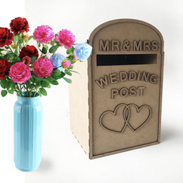 post boxes diy Promo Codes - Solid Pine Fully Assembled Personalised Wedding Card Post Box Royal Mail Style Diy Wedding Gift Card Box Decor Supplies