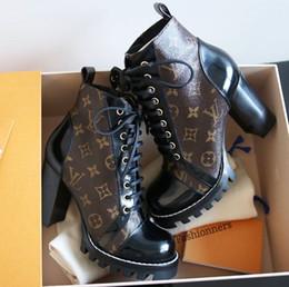 tubo del cordón de los hombres Rebajas Star Trail Botines para mujer Botas de tacón alto Marca de lujo Monograma Lienzo Chunky Heel Martin Boots Diseñador de cuero real Army Bootie Shoes