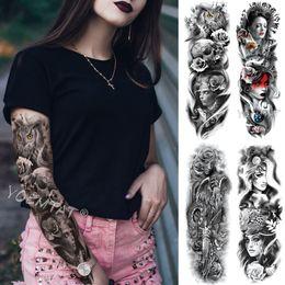 2019 стикер дизайн дракона Большая рука рукава татуировки Роза Грудина часы Водонепроницаемый Временные татуировки наклейки Красный красоты девушка Полный череп цветок Tatoo Женщины