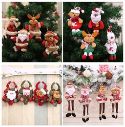 2019 рождественские украшения санта-клауса Рождественские украшения подвески игрушки Вне Xmas Tree висячие украшения Санта-Клаус снеговика медведь кукла для домашнего декора Дети Подарочные YD0435 дешево рождественские украшения санта-клауса