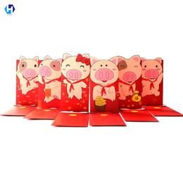 chinesischer hochzeitsgeschenkumschlag Rabatt Schwein-roter Papierumschlag des Herz-Mond-2019 für chinesische Frühlingsfest-rote Paket-Geld-Geschenke für Baby, das 6pcs / lot Wedding ist