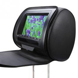 Pantallas de reposacabezas online-Pantalla LCD Juego Reproductor de DVD Monitor de 7 pulgadas Reposacabezas del coche Funda con cremallera Altavoz Infrarrojo Video ajustable USB Multifunción HD # 2