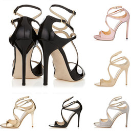 typen verbeugt band Rabatt Jimmy choo Frauen Designer Sandalen So Kate Styles Fashion Luxus Mädchen High Heels 10CM 12CM LANCE Schwarz Rosa Weiß Gold Silber Leder Punktgröße 35-42