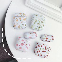 Caso de airpod de mármore de frutas capa protetora air pod airpods moda casos de fone de ouvido de luxo pedra rocha grão granito pêra bonito cereja pele de pêssego de